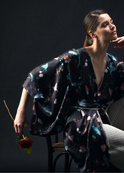 MENG Campaign Shot Black Kimono Blue Birds