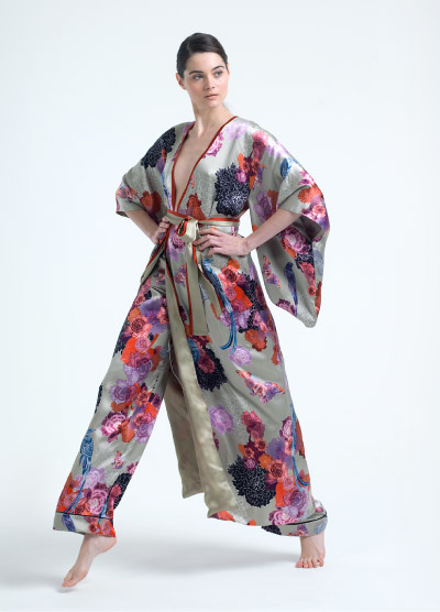 Bold, Pink Lined Kimono with Large Floral Print on Pale Background