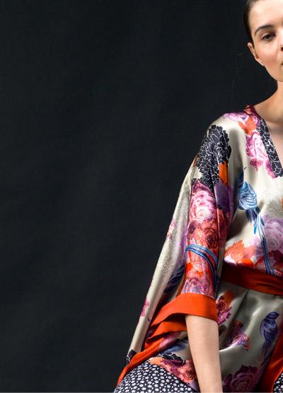 Left Side View Detailed Kimono with Orange Trim