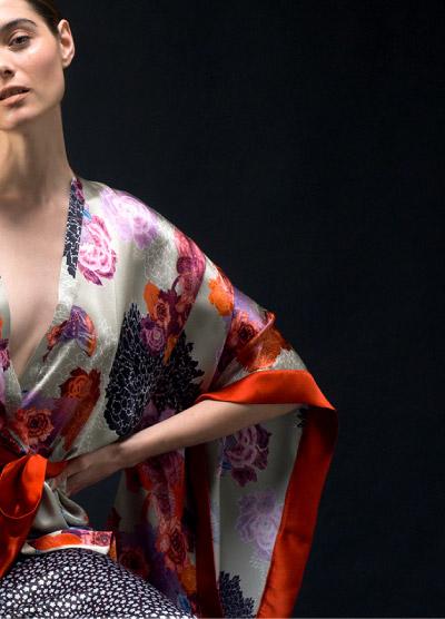Right Side View Detailed Kimono with Orange Trim