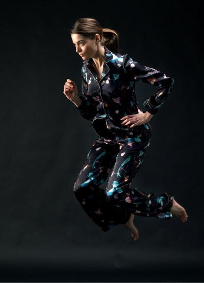 Black Silk Pyjama Set with Electric Blue Details