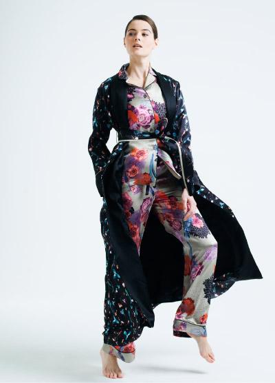 MENG Colour Contrast Black Kimono and Pink Floral Pyjama Set