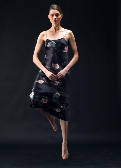 MENG Black Silk Slip Dress with Floral Distinguished Detail