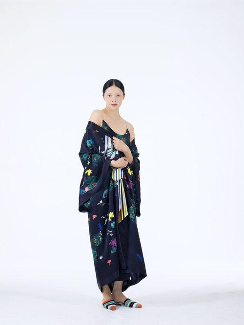 Meng womenswear loungwear luxury silk printed black kimono dress floral-PP.jpg