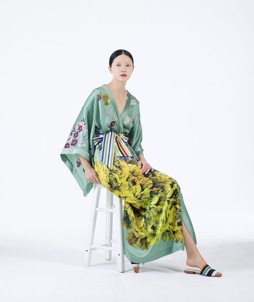 MENG Womenswear Light Green Kimono with Large Yellow Flower Detail and Striped Belt