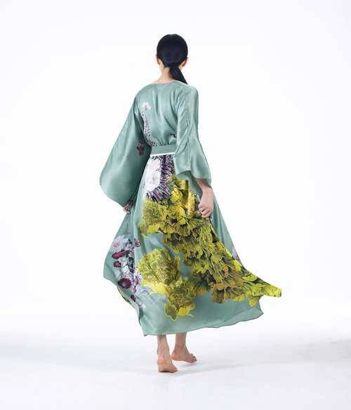 MENG Womenswear Green Kimono with Yellow Flowers Back View