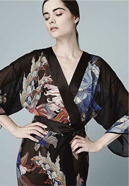 MENG Zodiac Collection Black Kimono Red and Blue Details