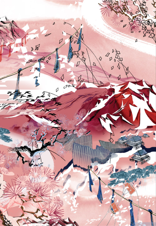 Meng-fashion-interior-landscape-painted-handdrawn-watercolour-mountaintop-sky-prints-details1-red-pink.jpg