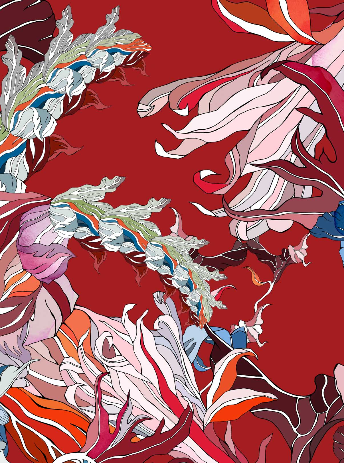 Meng-Loungewear-luxury-printed-silk-art-oriental-watercolour-red-orange-RF.jpg