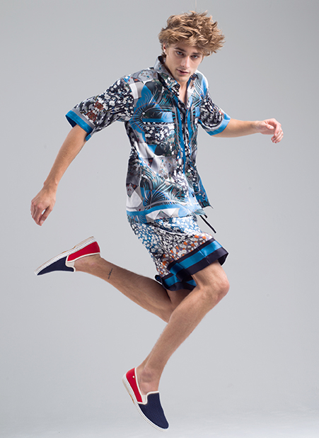 MENG Menswear Campaign Shot Blue Patterned Shorts and Shirt