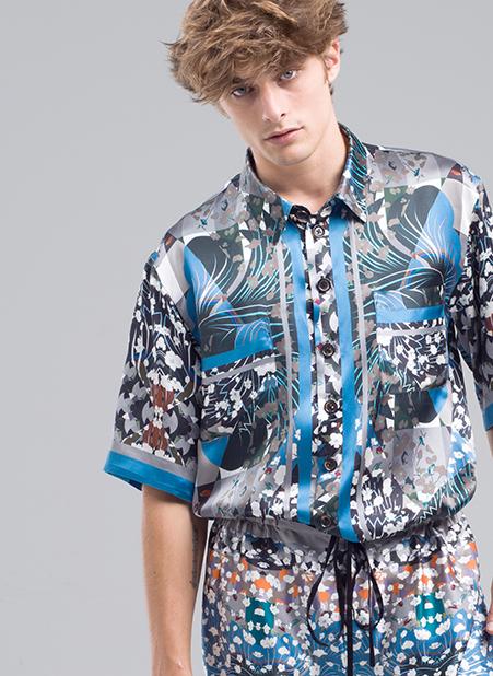 MENG Menswear Blue Detailed Silk Shirt