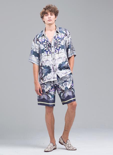 MENG Menswear Printed Shirt and Shorts Blue, Purple, Light Hues