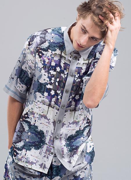 MENG Menswear Pastel Printed Silk Shirt Intricate Details