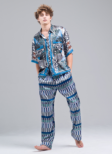 MENG Menswear Blue Patterned Silk Shirt and Trousers