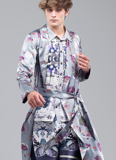 MENG Menswear printed Kimono Light Colours and Details