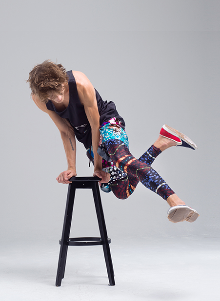 MENG Menswear Campaign Shot Bold Printed Silk Leggings