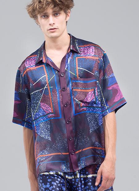 MEN Menswear Vivid Bold Printed Silk Shirt in Purple Blue Orange