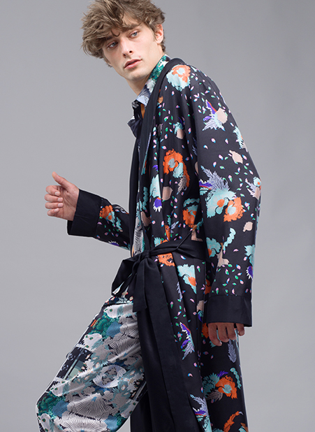 MENG Menswear Floral Printed Dark Kimono Bright Details Side View