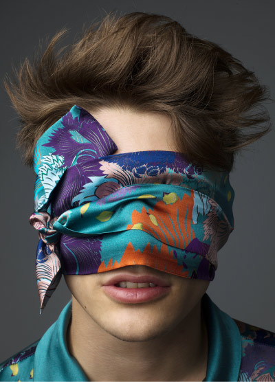 MENG Nocturne Campaign Shoot Silk Scarf Tied Round Eyes