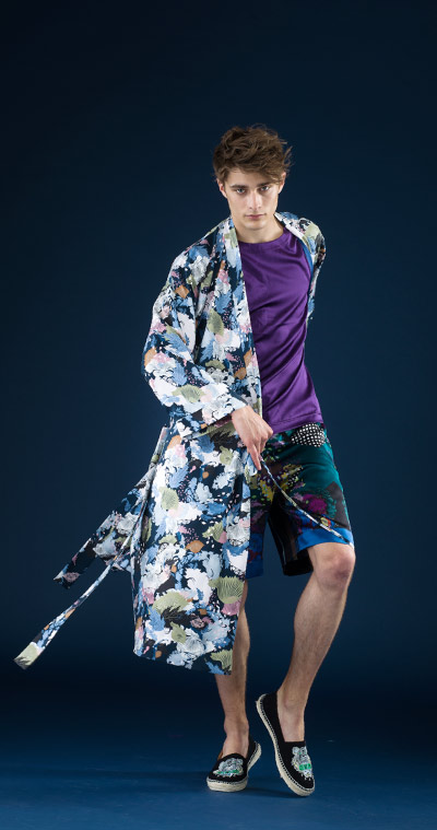 MENG Menswear Nocturne Collection Campaign Shoot Silk Kimono and Purple Top Bold Shorts