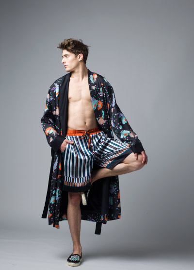 MENG Menswear Nocturne Floral Patterned Dark Kimono and Striped Shorts