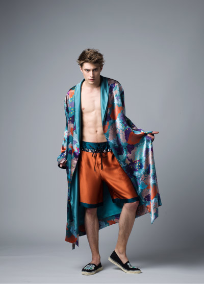 MENG Nocturne Collection Blue Kimono and Orange Shorts Campaign Shots