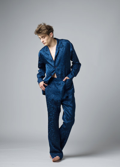 MENG Menswear Jacquard Midnight Blue Pyjama Set
