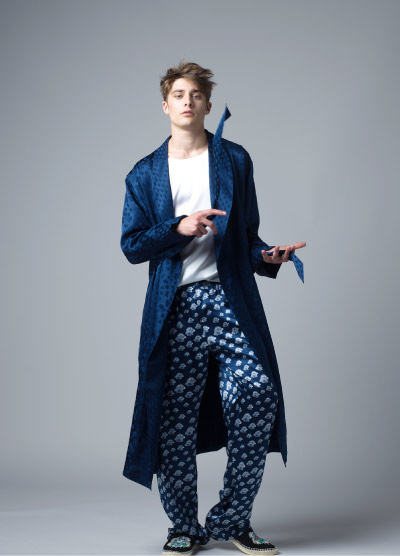MENG Luxury Menswear Silk Pyjama Trousers and Midnight Blue Jacquard Kimono