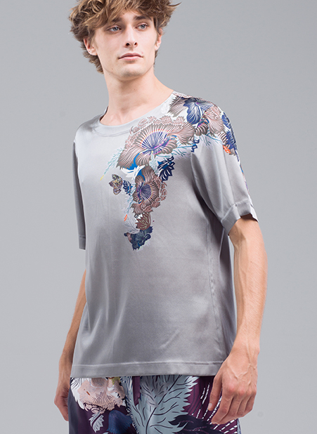 MENG Pale Silk Shirt with Floral Detail on the Left Shoulder