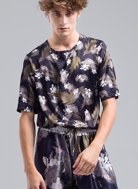 MENG Menswear Front View Printed Dark Floral Shirt and Shorts