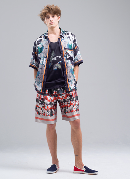 Patterned Silk Shirt and Black T-Shirt and Red White Shorts