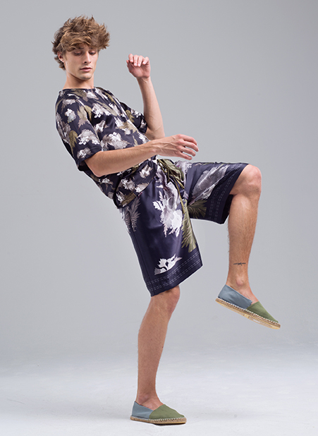 Menswear Collection Bold Prints Shirt and Shorts Side View