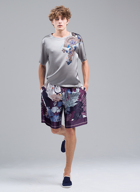 Menswear Collection Pale Silk Shirt and Purple Floral Shorts