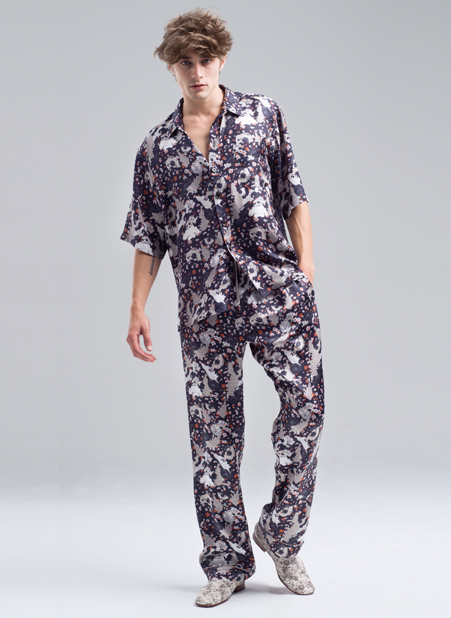 MENG Menswear Illuminated Shadows Intricate Floral Detail Shirt and Trouser Co-Ord