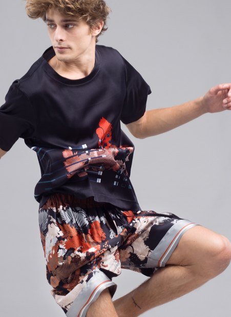 MENG Menswear Black Silk Shirt with Red Detail and Mixed Pattern Shorts
