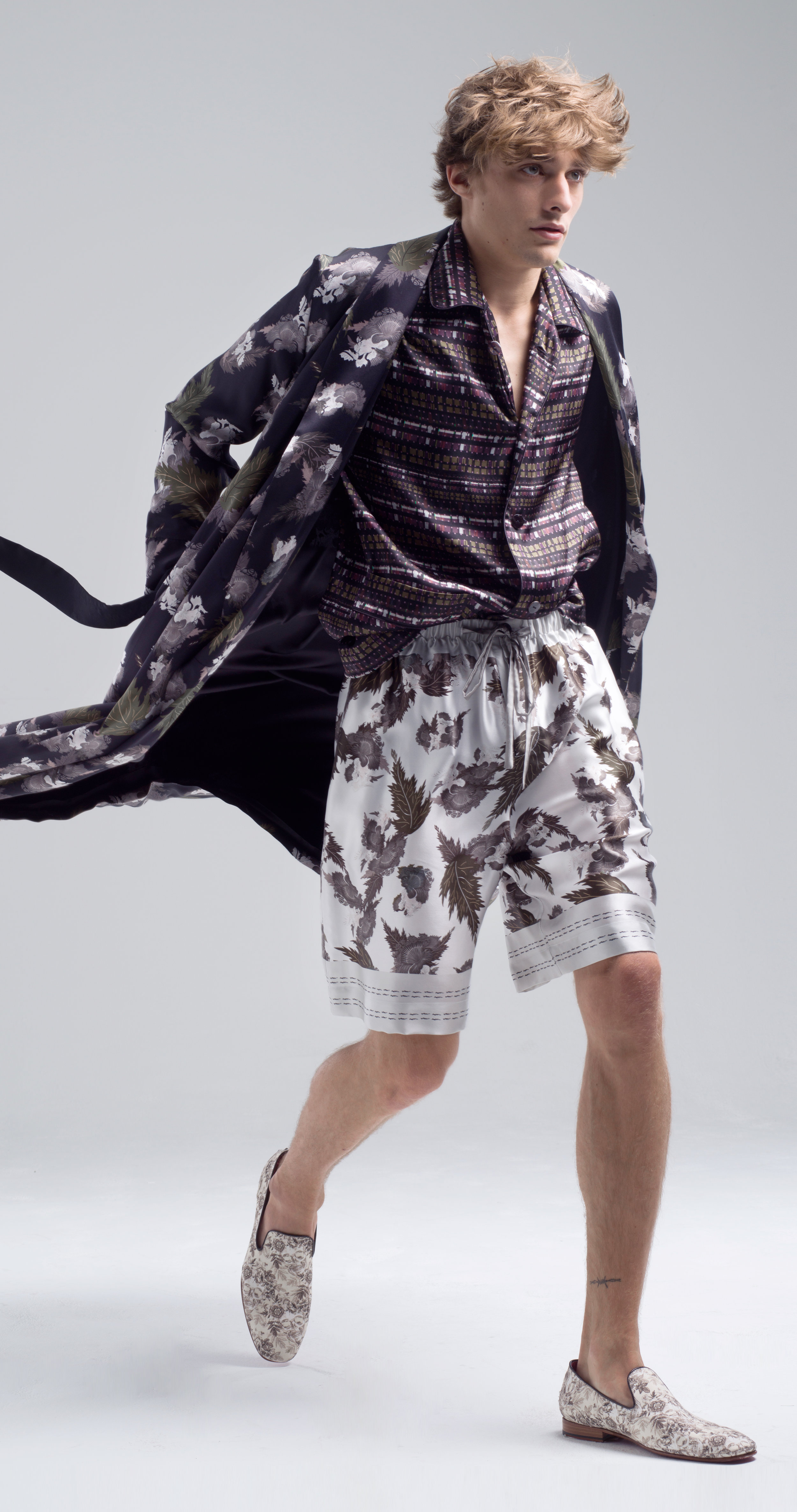 MENG Menswear Illuminated Shadows Botanical Print Kimono and Shorts with Geometric Shirt