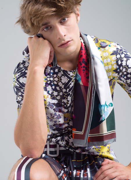 MENG Menswear Silk Scarf With Pops of Bold Colour and Striped Details