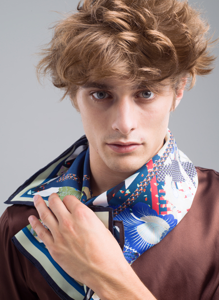 MENG Menswear Silk Scarf With Bright Blue Details