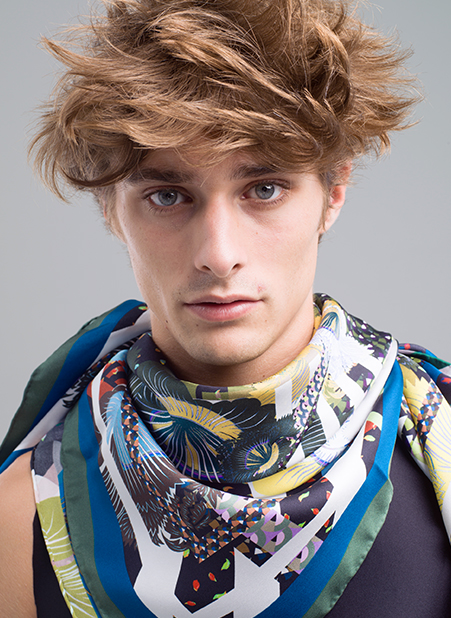 MENG Menswear Silk Scarf With an Array of Bright Colours and Abstract Patterns