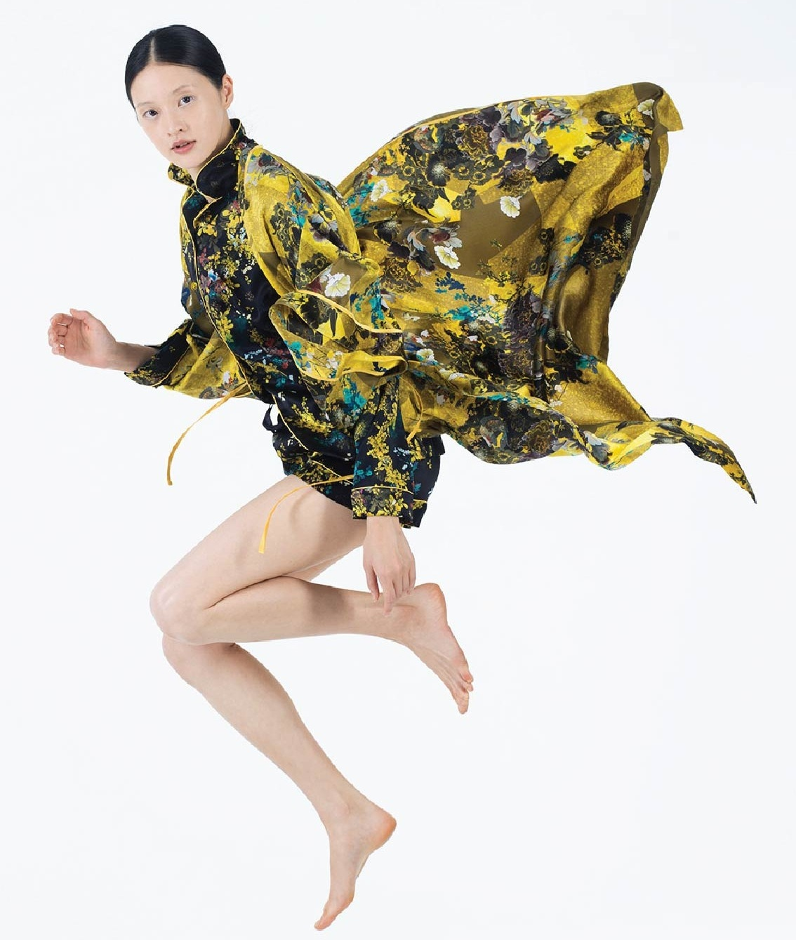 MENG Yellow Floral Kimono on Model