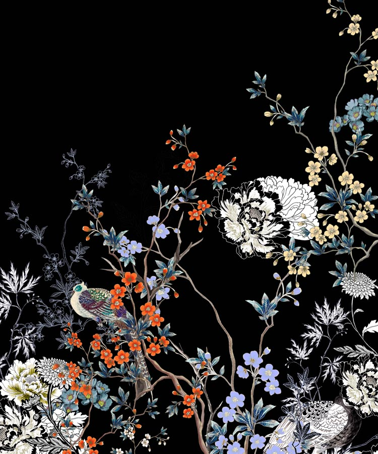 Japanese Garden Print with Blooms and Flowers on Dark Background