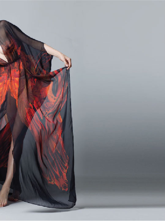 Fire Dragon Side of Kaftan Red and Black Silk
