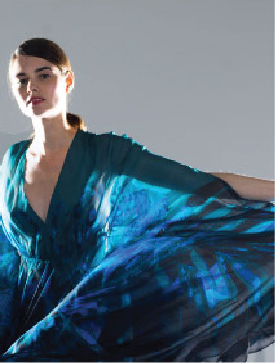 MENG Fire Dragon and Waterfall Project Close up Blue Silk Kaftan