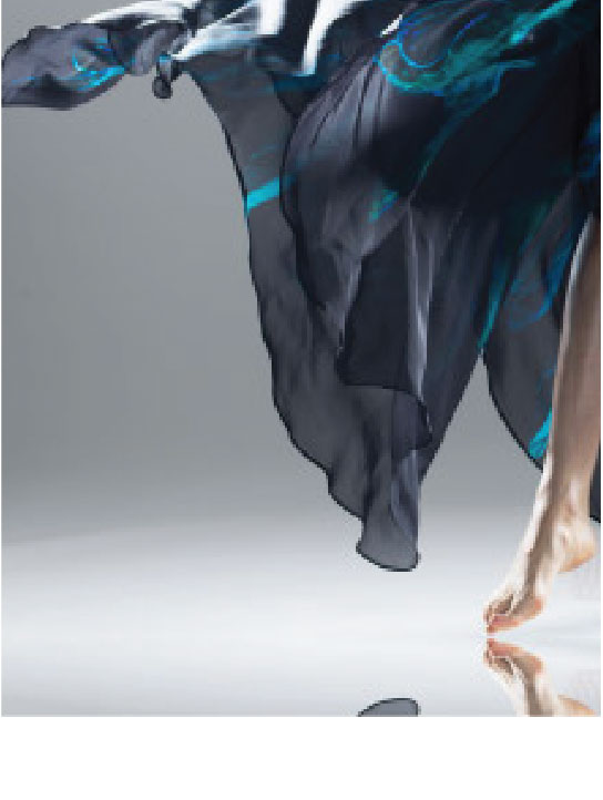 Close up of Blue and Black Silk in Motion