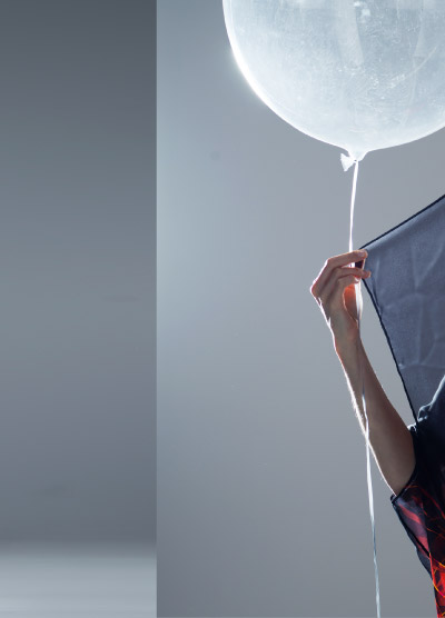 Close up of Campaign Shoot with Balloon and Transparent Silk