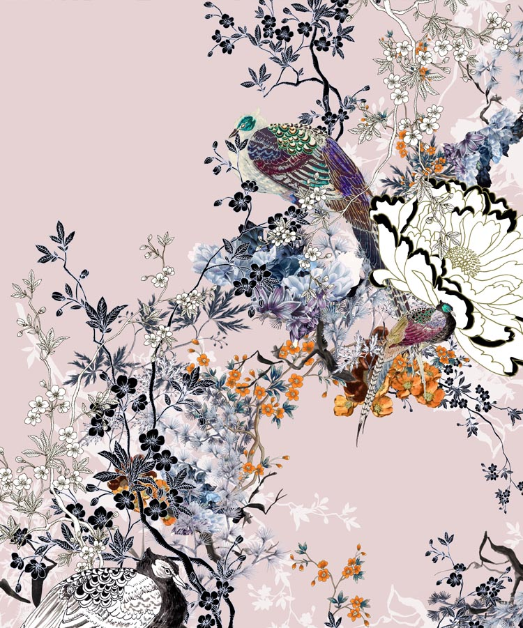 Japanese Garden Print with Birds and Florals on Pink Background