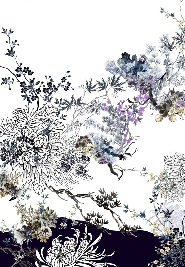Meng-Loungewear-luxury-printed-art-silk-oriental-flowers-watercolour-white-white-purple-JG.jpeg