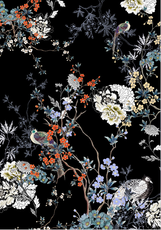 Meng-Loungewear-luxury-art-printed-silk-oriental-delicate-flowers-white-black-orange-JG.jpg