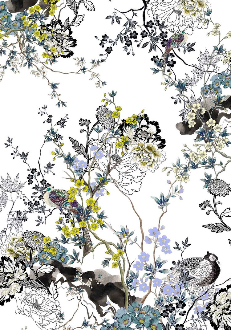 Meng-Loungewear-luxury-art-printed-silk-oriental-flowers-watercolour-white-yellow-purple-birds1-JG.jpg