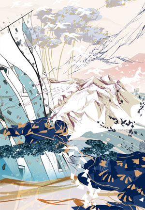 Art Inspiration Animation Print Pastel and Dark Coloured Mountain Landscape
